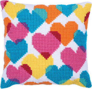 Hearts Collage Printed Cross Stitch Cushion Kit by Needleart World