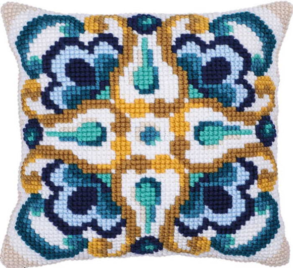 Sienna Tile Printed Cross Stitch Cushion Kit by Needleart World