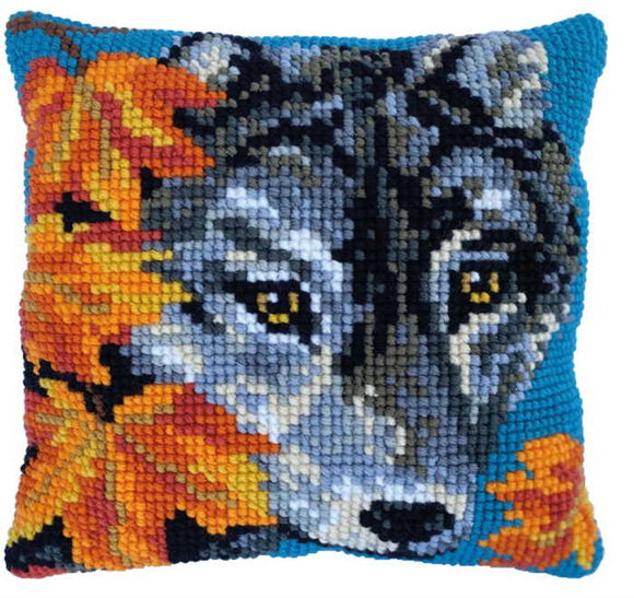 Autumn Wolf Printed Cross Stitch Cushion Kit by Needleart World