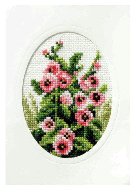 Hollyhocks Printed Cross Stitch Card Kit by Orchidea