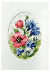 Poppies and Cornflowers Printed Cross Stitch Card Kit by Orchidea