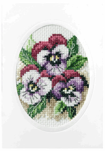 Pansies Printed Cross Stitch Card Kit by Orchidea