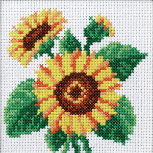 Sunflower Printed Cross Stitch Kit by Orchidea