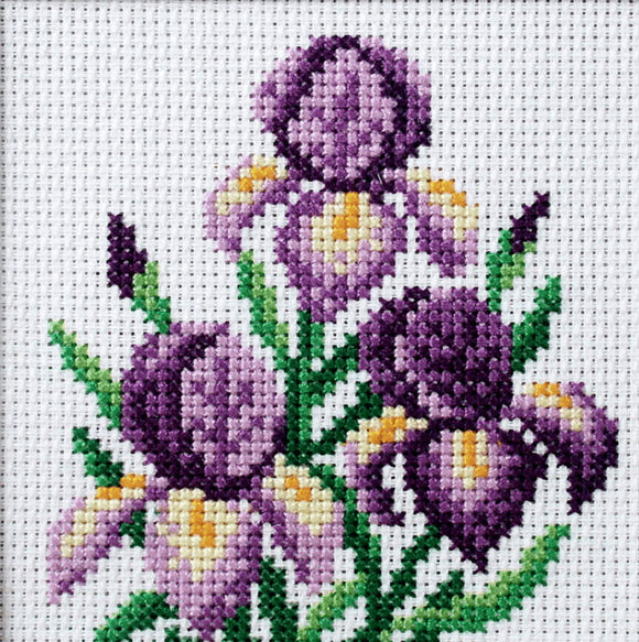 Iris Printed Cross Stitch Kit by Orchidea