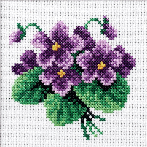 Viola Printed Cross Stitch Kit by Orchidea