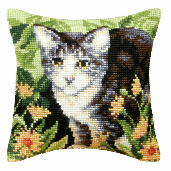 Cat Printed Cross Stitch Cushion Kit by Orchidea