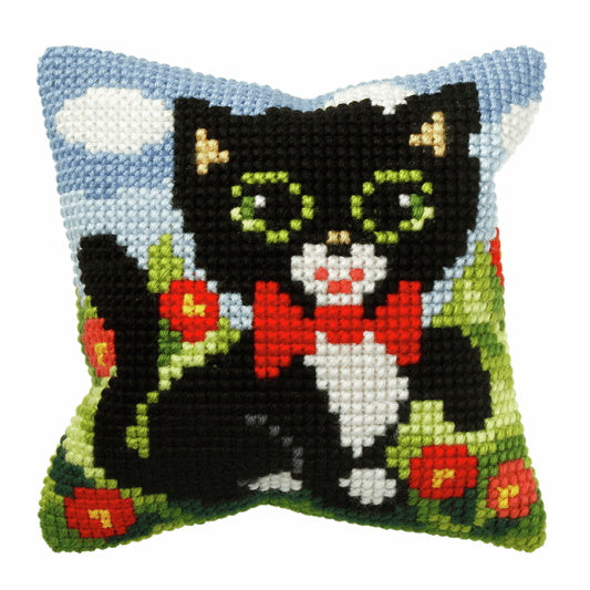 Kitten Printed Cross Stitch Cushion Kit by Orchidea