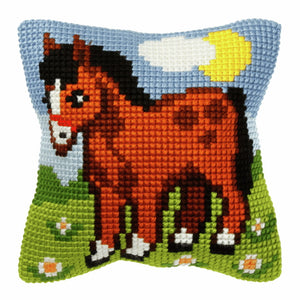 Horse Printed Cross Stitch Cushion Kit by Orchidea