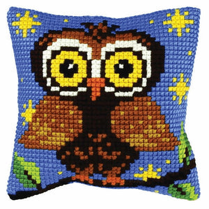 Owl Printed Cross Stitch Cushion Kit by Orchidea