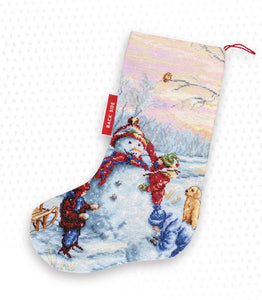 Building a Snowman Christmas Stocking Cross Stitch Kit by Luca S