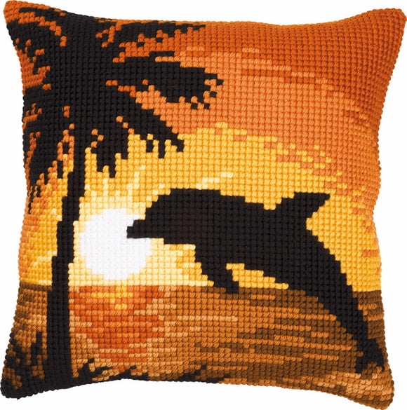 Sunset Dolphin Printed Cross Stitch Cushion Kit by Vervaco