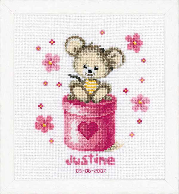 Mouse Birth Sampler Cross Stitch Kit By Vervaco