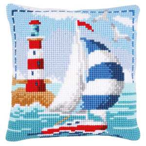 Lighthouse Printed Cross Stitch Cushion Kit by Vervaco