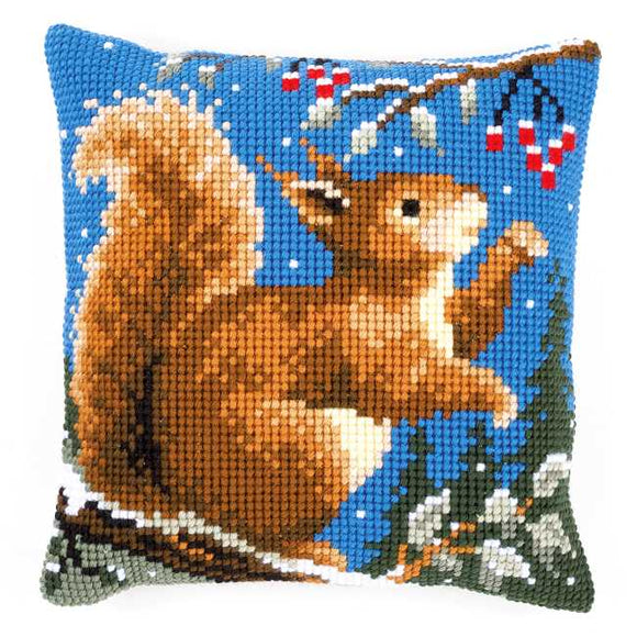 Squirrel in Winter Printed Cross Stitch Cushion Kit by Vervaco