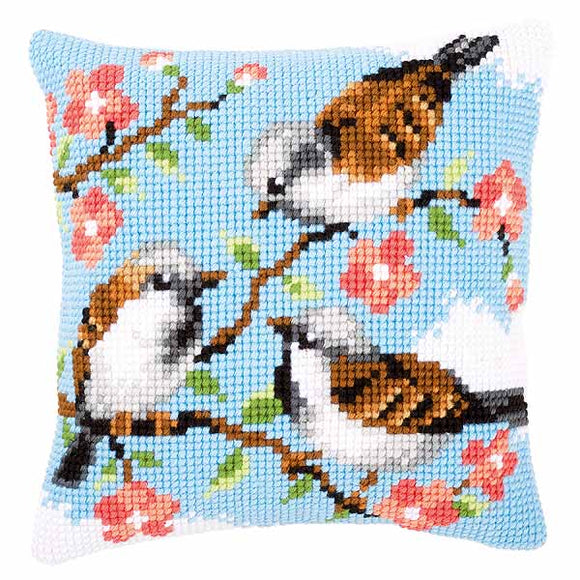 Birds Between Flowers Printed Cross Stitch Cushion Kit by Vervaco
