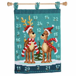 Elks with Scarves Advent Calendar Printed Cross Stitch Kit by Vervaco