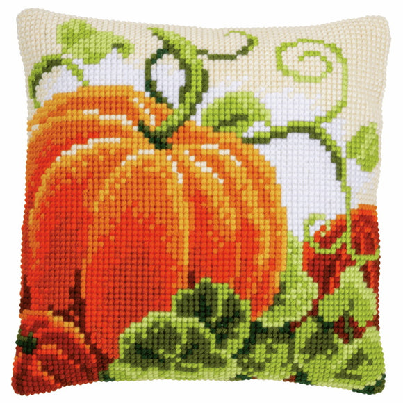 Pumpkins Printed Cross Stitch Cushion Kit by Vervaco