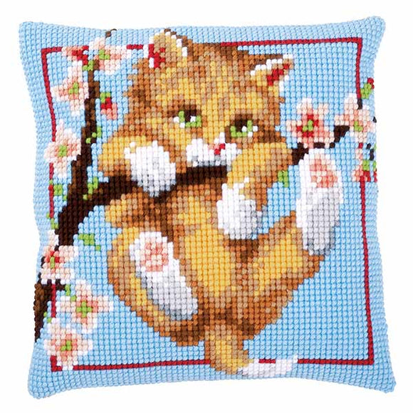 Hanging Printed Cross Stitch Cushion Kit by Vervaco
