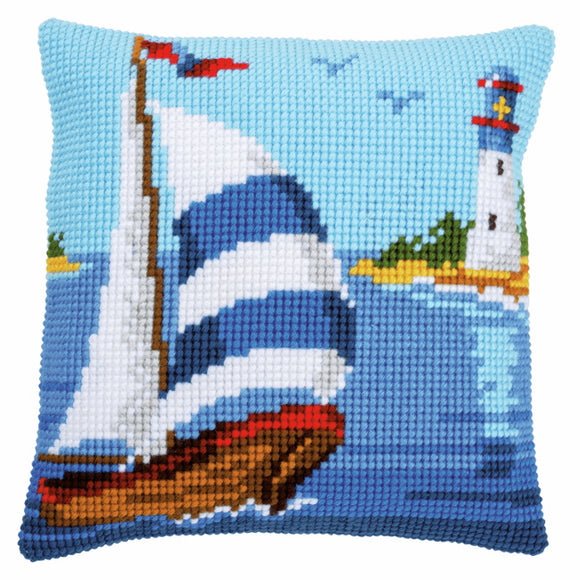 Sailboat Printed Cross Stitch Cushion Kit by Vervaco