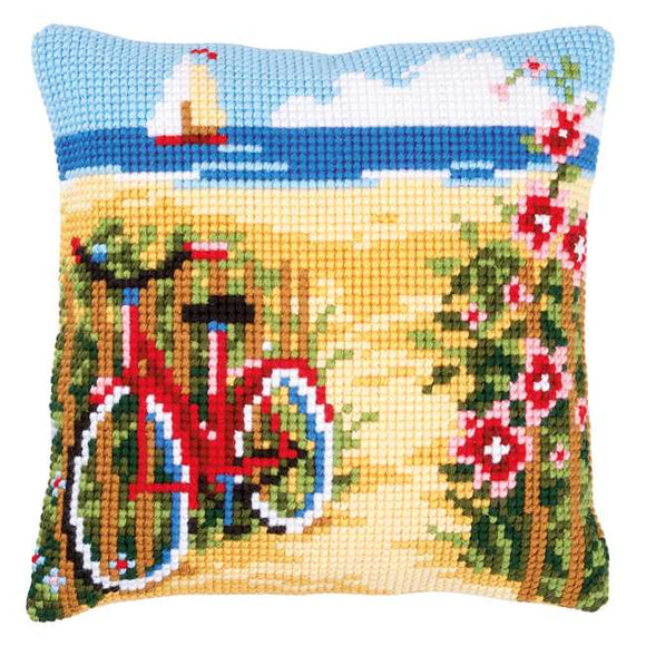 At the Beach Printed Cross Stitch Cushion Kit by Vervaco
