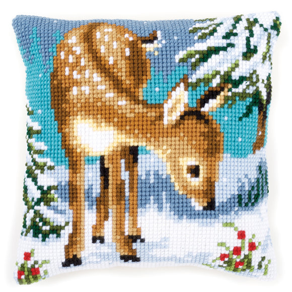 Little Deer Printed Cross Stitch Cushion Kit by Vervaco