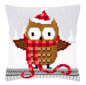 Owl in a Santa Hat Printed Cross Stitch Cushion Kit by Vervaco