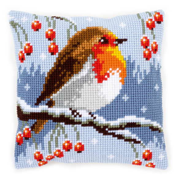 Red Robin in Winter Printed Cross Stitch Cushion Kit by Vervaco