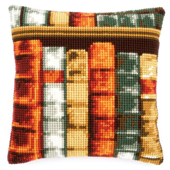 Books Printed Cross Stitch Cushion Kit by Vervaco