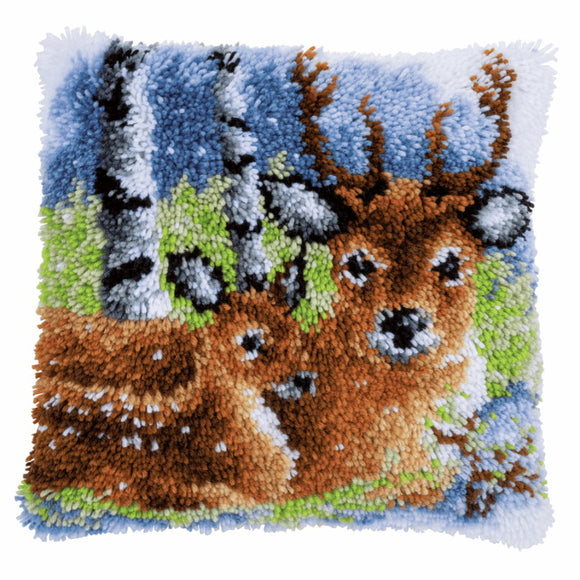 Deer in the Snow Latch Hook Cushion Kit By Vervaco