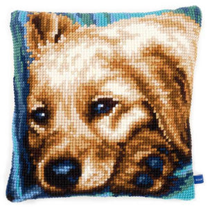 Dog Printed Cross Stitch Cushion Kit by Vervaco