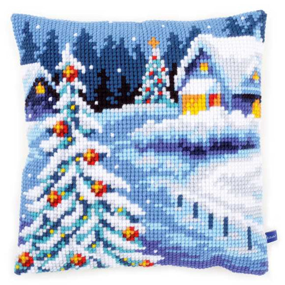 Wintery Scene Printed Cross Stitch Cushion Kit by Vervaco