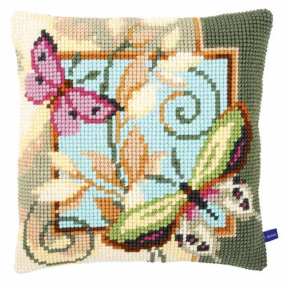 Deco Butterflies Printed Cross Stitch Cushion Kit by Vervaco