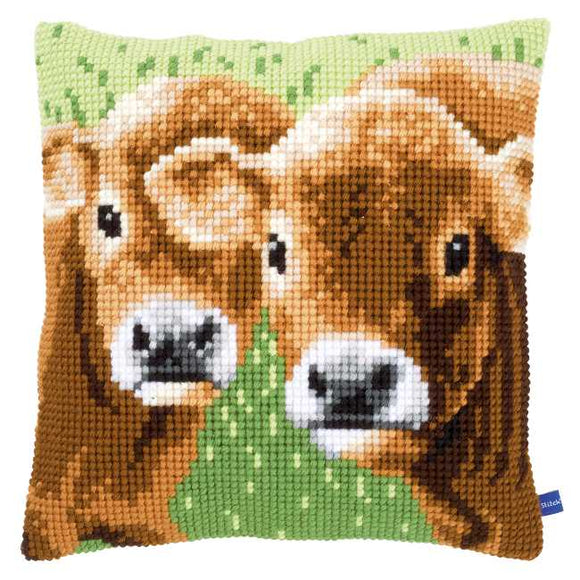 Two Calves Printed Cross Stitch Cushion Kit by Vervaco