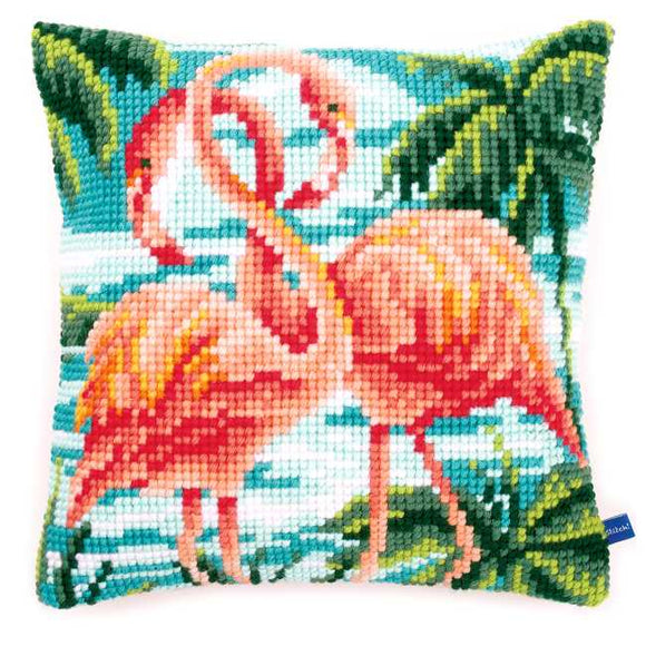 Flamingos Printed Cross Stitch Cushion Kit by Vervaco