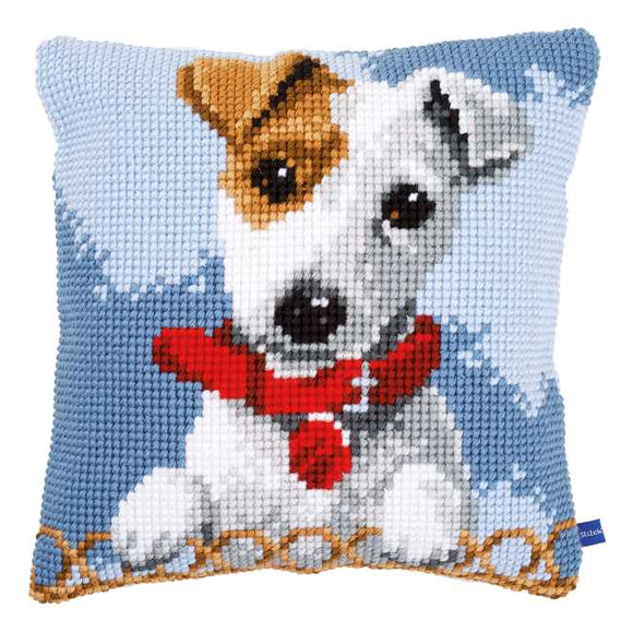 Jack Russell Printed Cross Stitch Cushion Kit by Vervaco