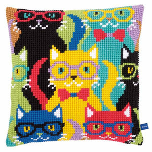 Funny Cats Printed Cross Stitch Cushion Kit by Vervaco