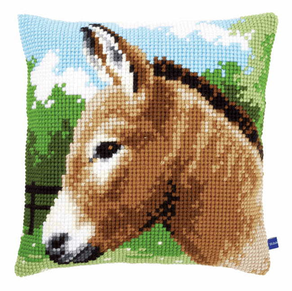 Donkey Printed Cross Stitch Cushion Kit by Vervaco