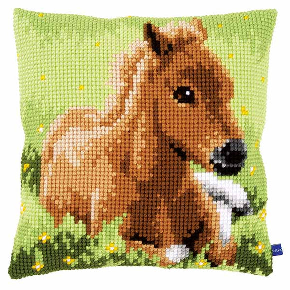 Brown Foal Printed Cross Stitch Cushion Kit by Vervaco