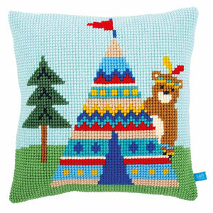 Bear and Teepee Printed Cross Stitch Cushion Kit by Vervaco