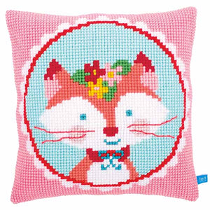 Laughing Fox Printed Cross Stitch Cushion Kit by Vervaco