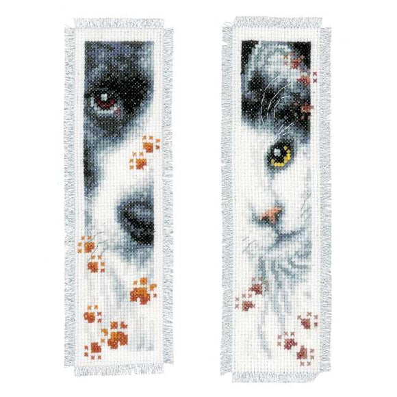 Dog and Cat Bookmark Cross Stitch Kit By Vervaco