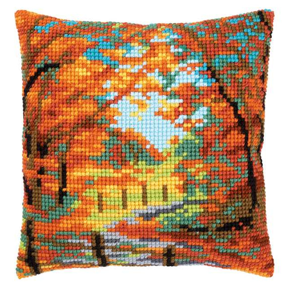 Autumn Landscape Printed Cross Stitch Cushion Kit by Vervaco