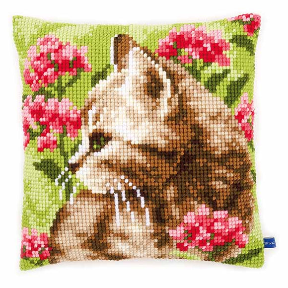 Cat in Field of Flowers Printed Cross Stitch Cushion Kit by Vervaco