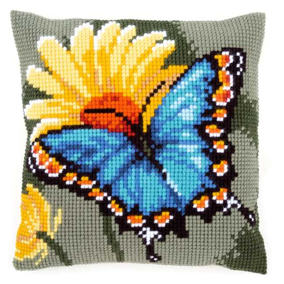 Butterfly and Yellow Flower Printed Cross Stitch Cushion Kit by Vervaco