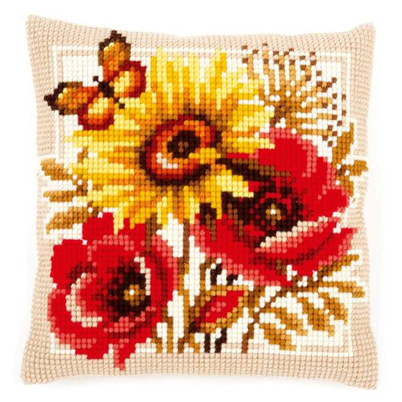 Poppies and Sunflower Printed Cross Stitch Cushion Kit by Vervaco