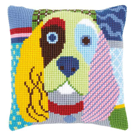 Modern Dog Printed Cross Stitch Cushion Kit by Vervaco