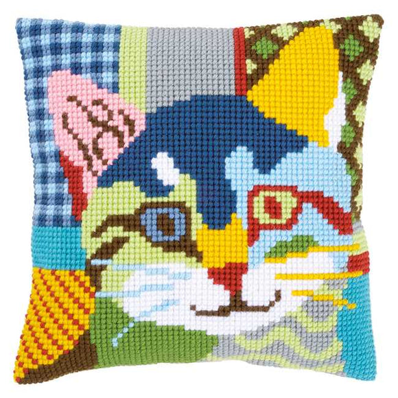 Modern Cat Printed Cross Stitch Cushion Kit by Vervaco