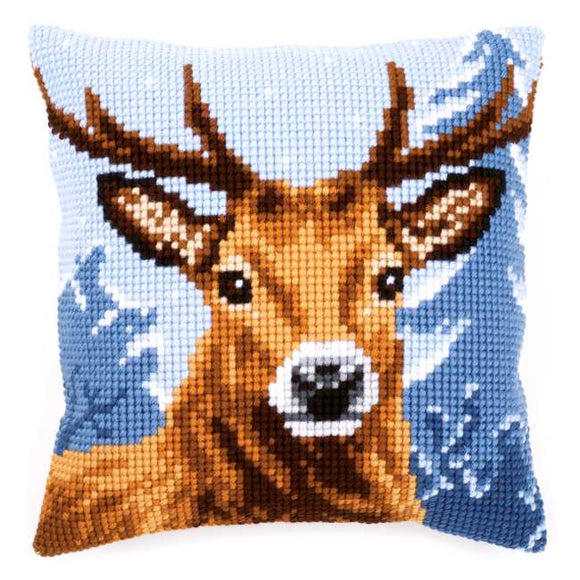 Deer Printed Cross Stitch Cushion Kit by Vervaco