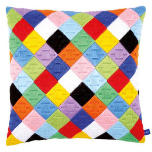 Colourful Diamonds Long Stitch Cushion Kit By Vervaco