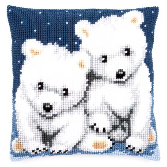 Polar Bears Printed Cross Stitch Cushion Kit by Vervaco